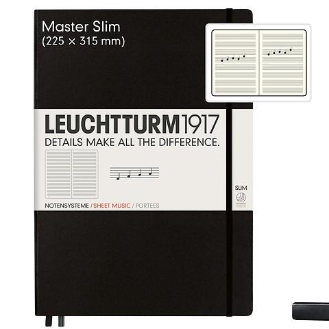 Carnet Master Slim (A4+) portée, couverture rigide, 121 pages numérotées, noir