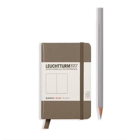 Carnet Mini (A7) couverture rigide, 169 pages numérotées, blanc, taupe