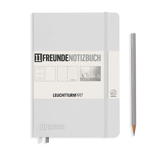 Carnet de notes Medium (A5), Couverture rigide, 253 pages numérotées, blanc, 11FREUNDE