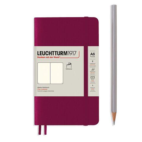 Carnet de notes Pocket (A6), couverture souple, 123 pages numérotées, Port Red, blanc