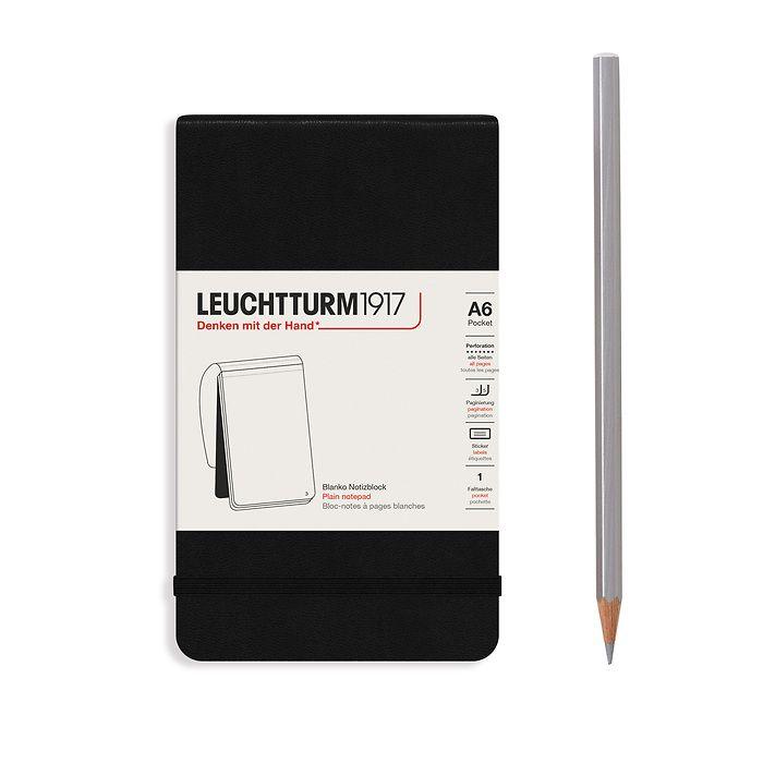 Bloc-notes Pocket (A6), couverture rigide, 94 pages numérotées, blanc, noir