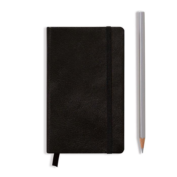 Carnet en Cuir Pocket (A6) couverture rigide, 185 pages numérotées, pointillés, noir