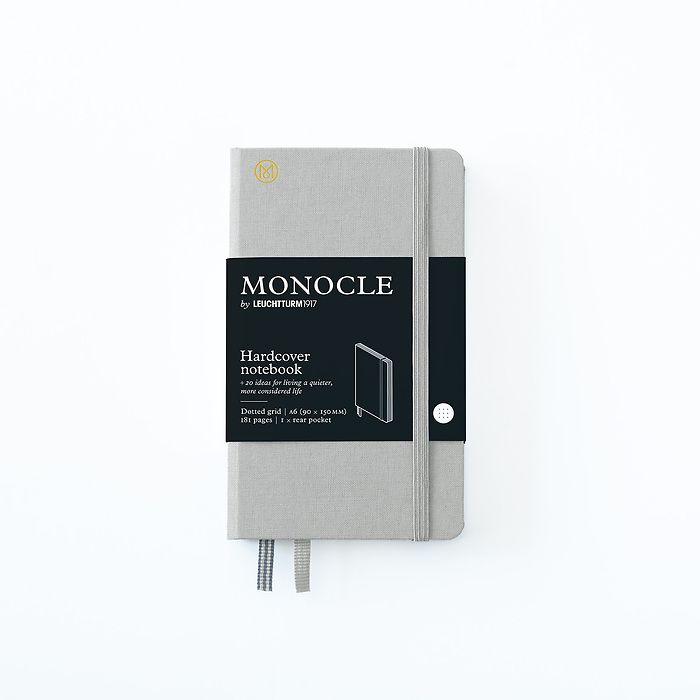 Carnet de notes A6 Monocle, Couverture rigide, 192 pages num., Light Grey, pointillé