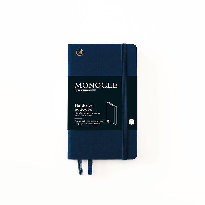 Carnet de notes A6 Monocle, Couverture rigide, 192 pages numérotées, Navy, pointillé