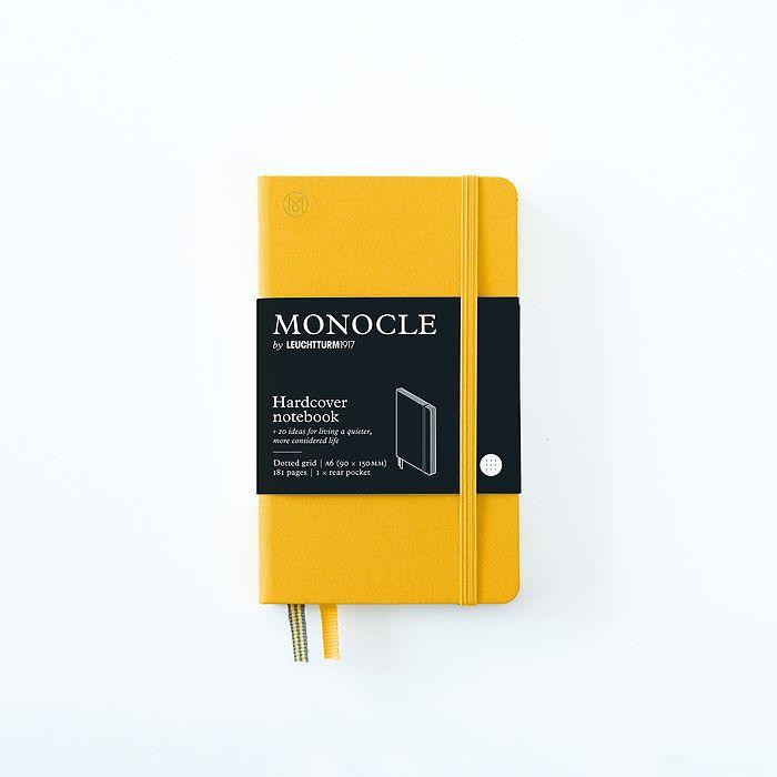 Carnet de notes A6 Monocle, Couverture rigide, 192 pages numérotées, Yellow, pointillé