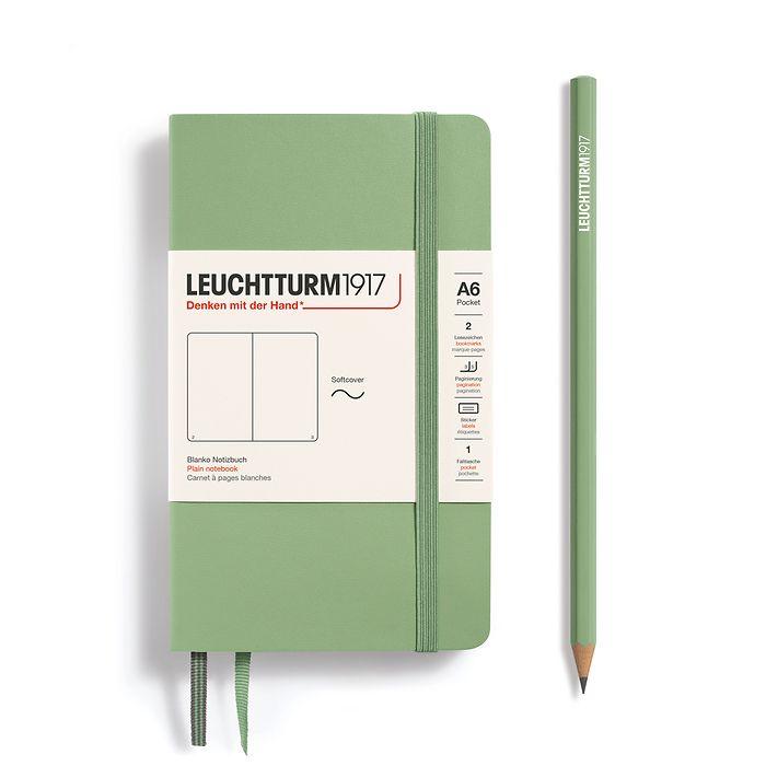 Carnet Pocket (A6), couverture souple, 123 pages numérotées, Sauge, blanc